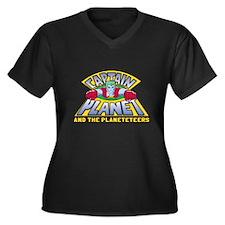 Captain Planet Logo Women's Plus Size V-Neck Dark