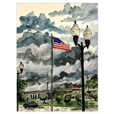 American flag usa patriotic a Poster