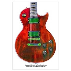 """Foil Red"" Guitar Framed Print"