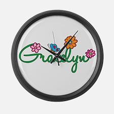 Gracelyn Flowers Large Wall Clock