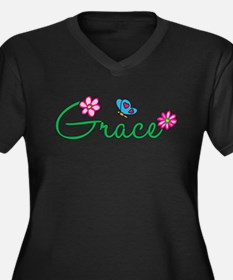 Grace Flowers Women's Plus Size V-Neck Dark T-Shir