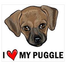 I Heart My Puggle Poster