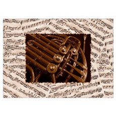 French Horn Collage Poster