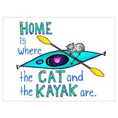 Home is where the Cat and the Kayak are Framed Print