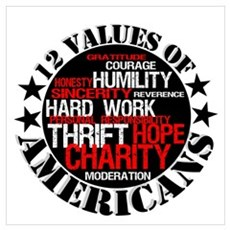 """""""12 Values of Americans """" Poster"""