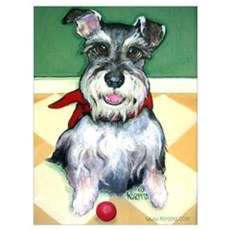 Schnauzer & Red Ball Poster