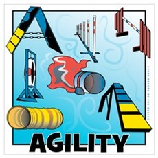 Woodcut Agility Obstacles Poster