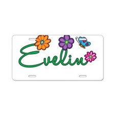 Evelin Flowers Aluminum License Plate