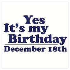 December 18th Birthday Poster
