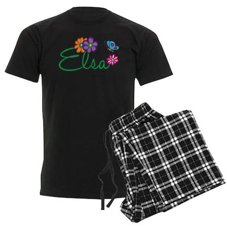 Elsa Flowers Men's Dark Pajamas