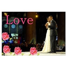 Barack & Michelle Love Canvas Art