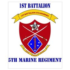 1st Battalion 5th Marines with Text Framed Print