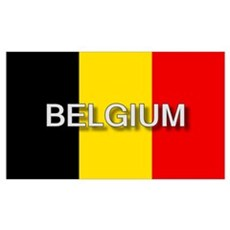 Belgium Flag with Label Canvas Art