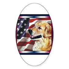Golden Retriever USA Flag Oval Decal