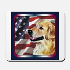 Golden Retriever USA Flag Mousepad