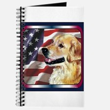 Golden Retriever USA Flag Journal