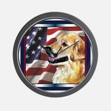 Golden Retriever USA Flag Wall Clock
