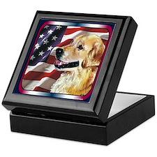 Golden Retriever USA Flag Keepsake Box