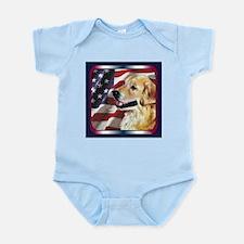 Golden Retriever USA Flag Infant Creeper