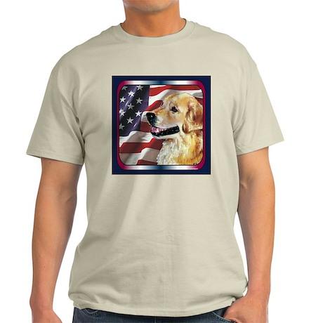Golden Retriever USA Flag Ash Grey T-Shirt