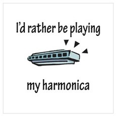 Playing My Harmonica Poster