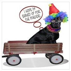 Black Lab Clown Poster