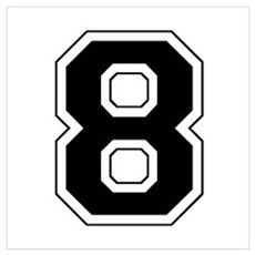 Varsity Font Number 8 Black Framed Print