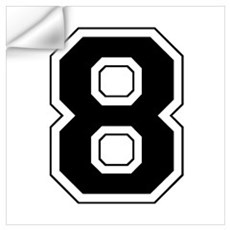 Varsity Font Number 8 Black Wall Decal