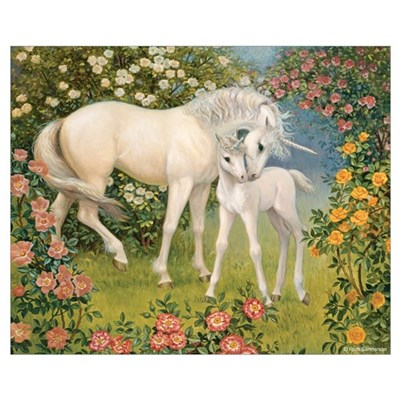 UNICORN MARE AND FOAL Canvas Art