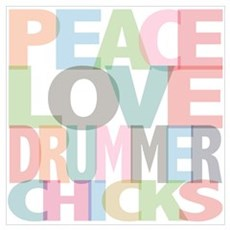 Peace Love Drummer Chicks Canvas Art