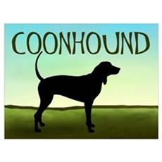 Coonhound In A Field Poster