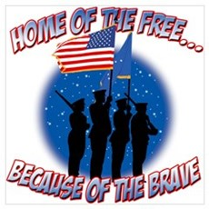 Home of the Free, Because of the Brave Small Poste Canvas Art