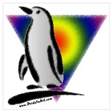 Abstract Gay Pride Penguin Canvas Art