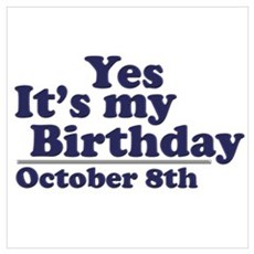 October 8th Birthday Poster