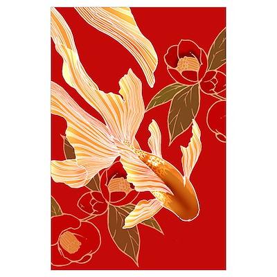 "Japanese Kimono Tradisional Design ""Goldfish"" Larg Poster"
