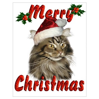 Maine Coon Christmas Poster