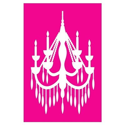 White on Pink Chandelier Poster
