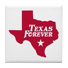 Texas Forever (Red - Cutout Ltrs) Tile Coaster