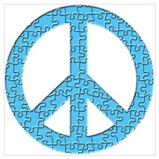 Puzzle Piece Peace Sign Poster