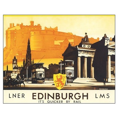 Vintage Edinburgh Travel Post Poster