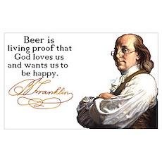 Franklin on Beer Poster