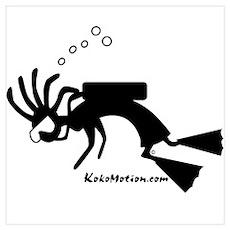 Kokopelli SCUBA Diver Poster