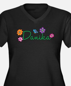 Danika Flowers Women's Plus Size V-Neck Dark T-Shi