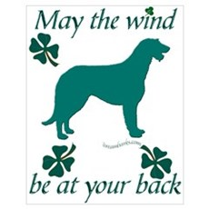 Irish Wolfhound and Shamrocks Poster