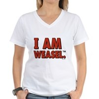I Am Weasel Logo Women's V-Neck T-Shirt
