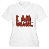 I Am Weasel Logo Women's Plus Size V-Neck T-Shirt