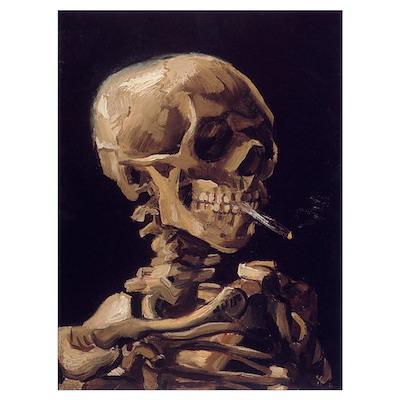 Skull with a Burning Cigarett Poster