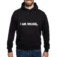 I Am Weasel Logo White Hoodie (dark)