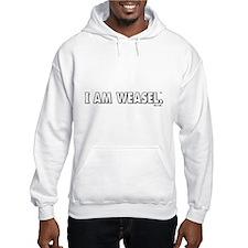 I Am Weasel Logo White Hooded Sweatshirt