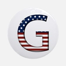 G Stars and Stripes Round Ornament